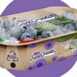 Kompostowalne przykrywki do tacek z jagodami z folii NatureFlex